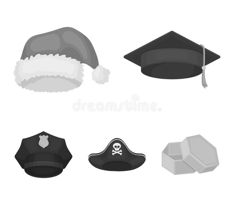 毕业生,圣诞老人,警察,海盗 帽子设置了在单色样式传染媒介标志股票例证网的汇集象 皇族释放例证