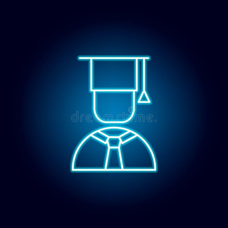 毕业生,盖帽,男孩在霓虹样式的概述象 教育例证线象的元素 标志,标志可以为网使用, 库存例证
