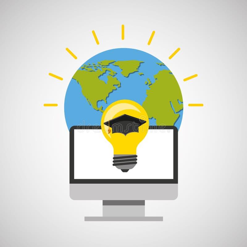 毕业的教育网上全球性想法盖帽 皇族释放例证