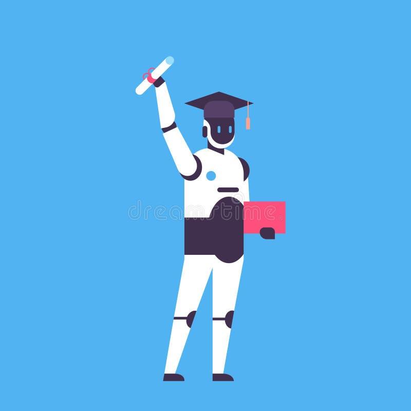 毕业的机器人举行文凭证明学生盖帽机器教育马胃蝇蛆帮手概念人工智能蓝色 库存例证