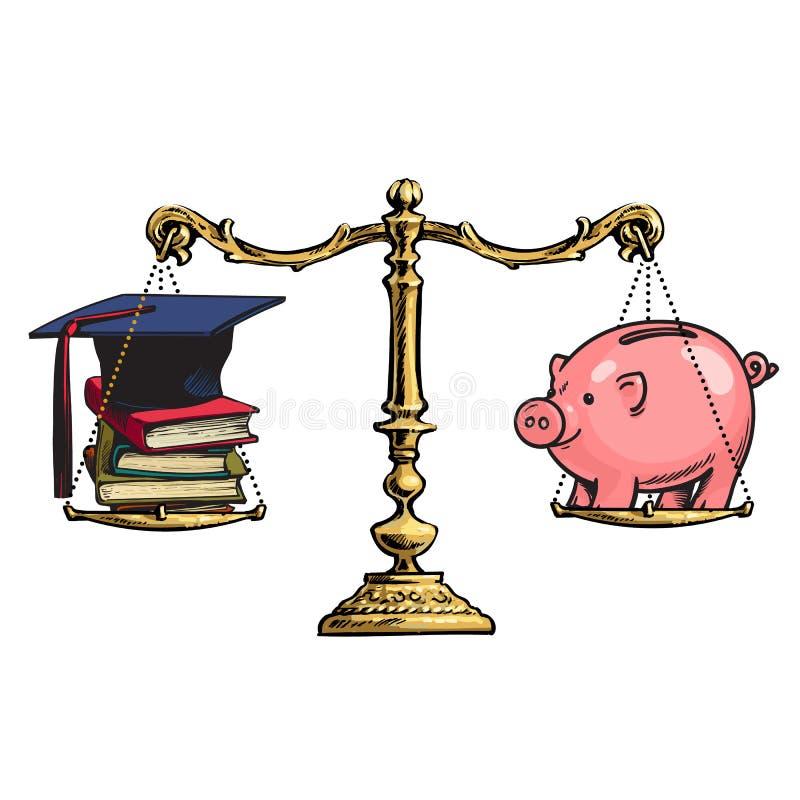 毕业盖帽、书和存钱罐老金黄等级的 教育的价格 向量 皇族释放例证