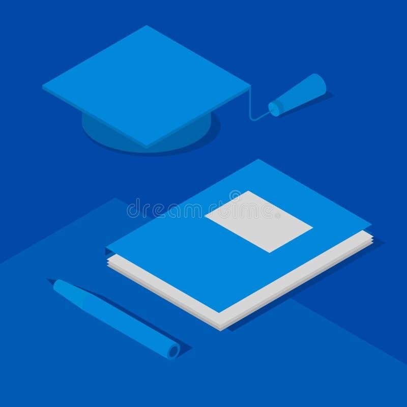 毕业盖帽、纸在文件夹和笔 等量3d 库存例证