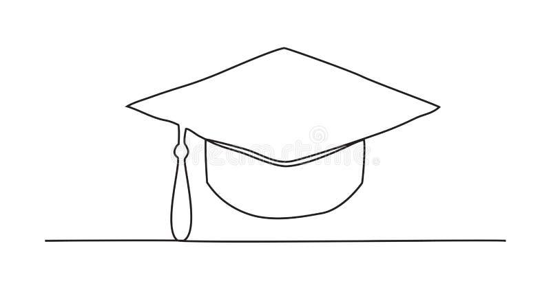 毕业盖帽一线描 库存例证