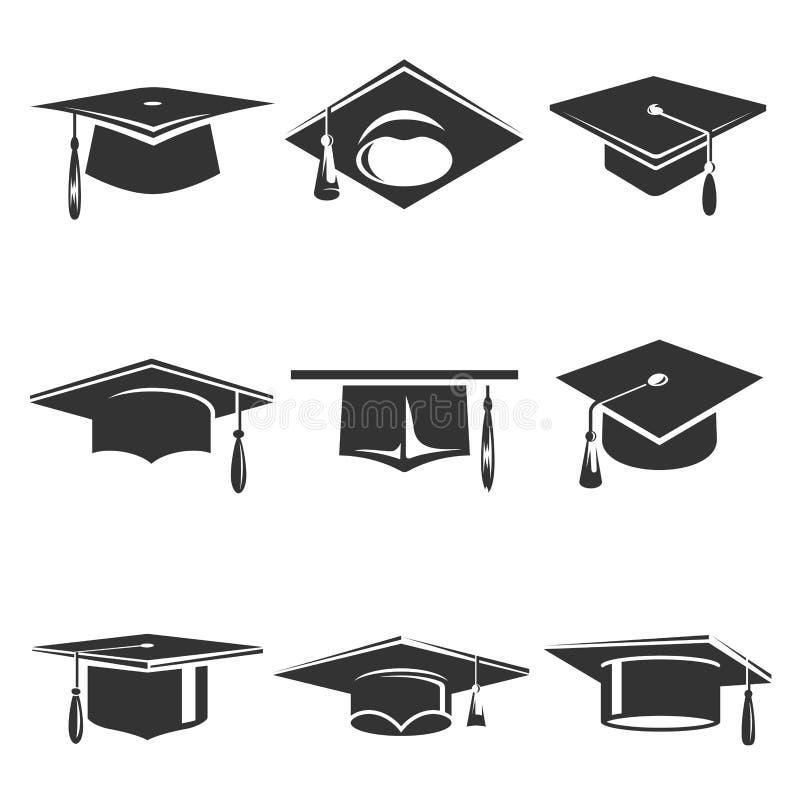 毕业盖帽传染媒介象设置了与背景被隔绝 向量例证