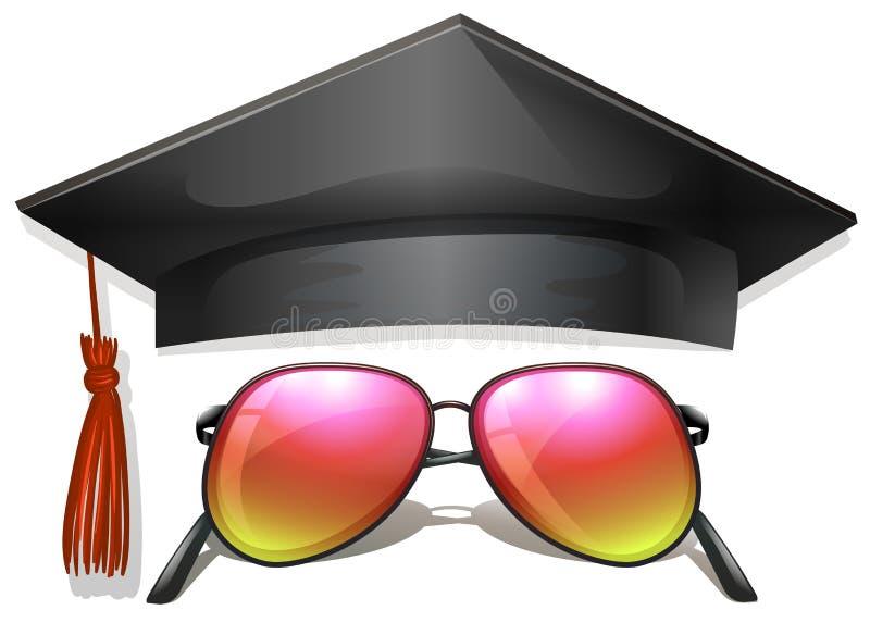 毕业盖帽和太阳镜 库存例证
