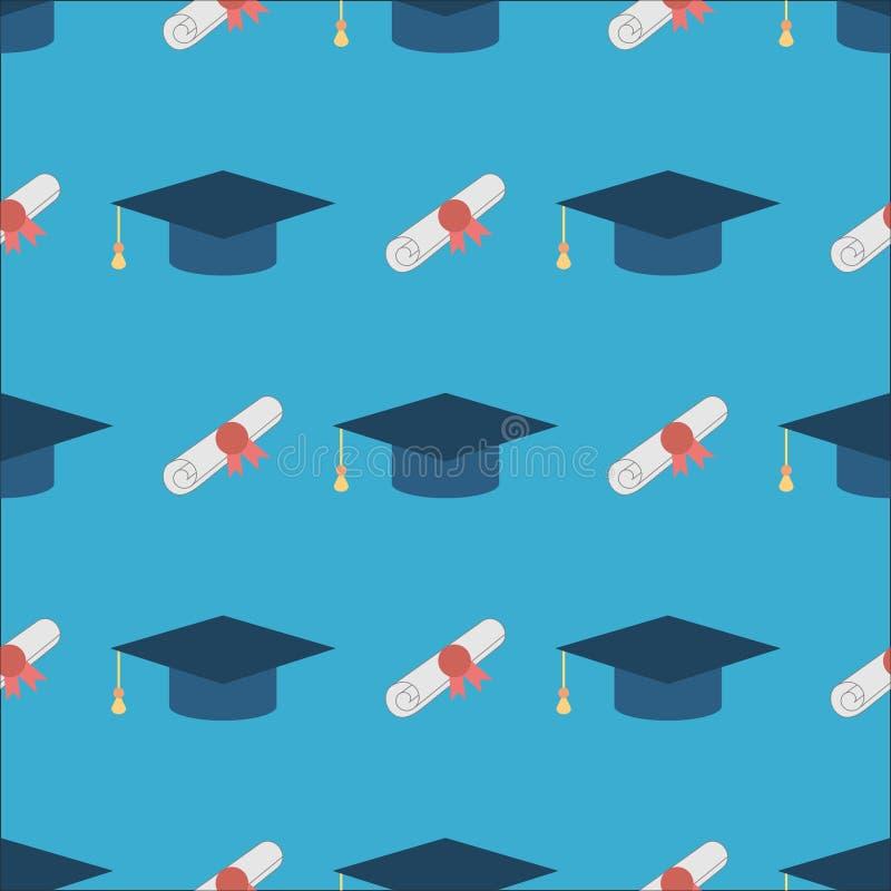 毕业盖帽和文凭无缝的样式背景 库存例证