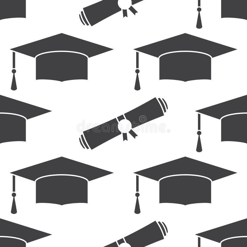 毕业盖帽和文凭无缝的样式背景 向量例证