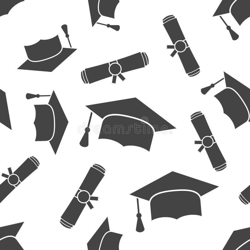 毕业盖帽和文凭滚动了纸卷无缝的样式 向量例证