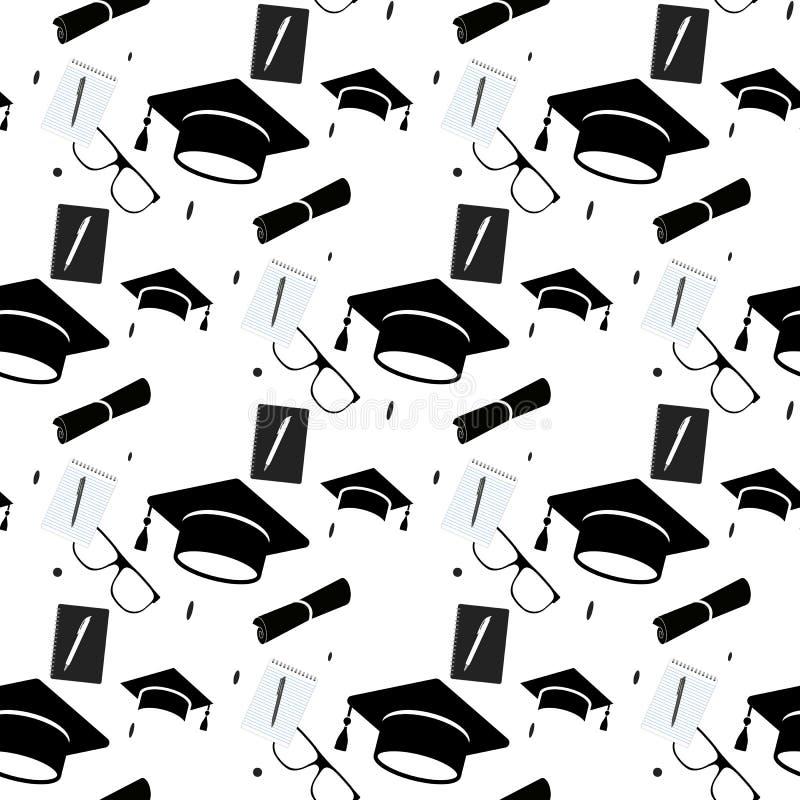 毕业盖帽和文凭纸卷无缝的背景 高等教育庆祝周年标志样式 投反对票 库存例证