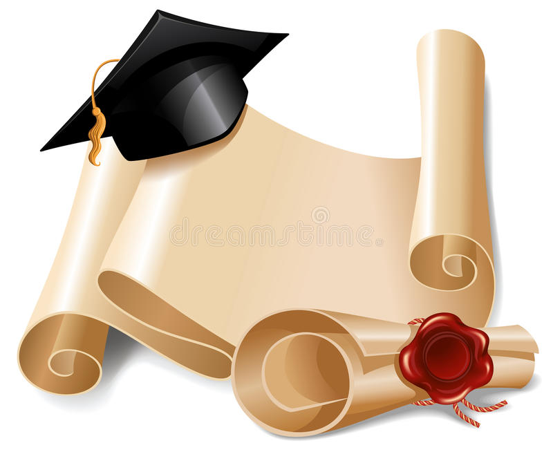 毕业盖帽和文凭 皇族释放例证