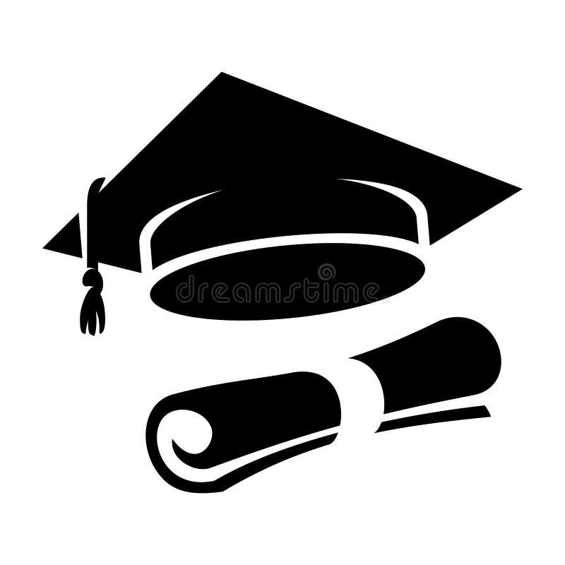 黑毕业盖帽文凭象 向量例证