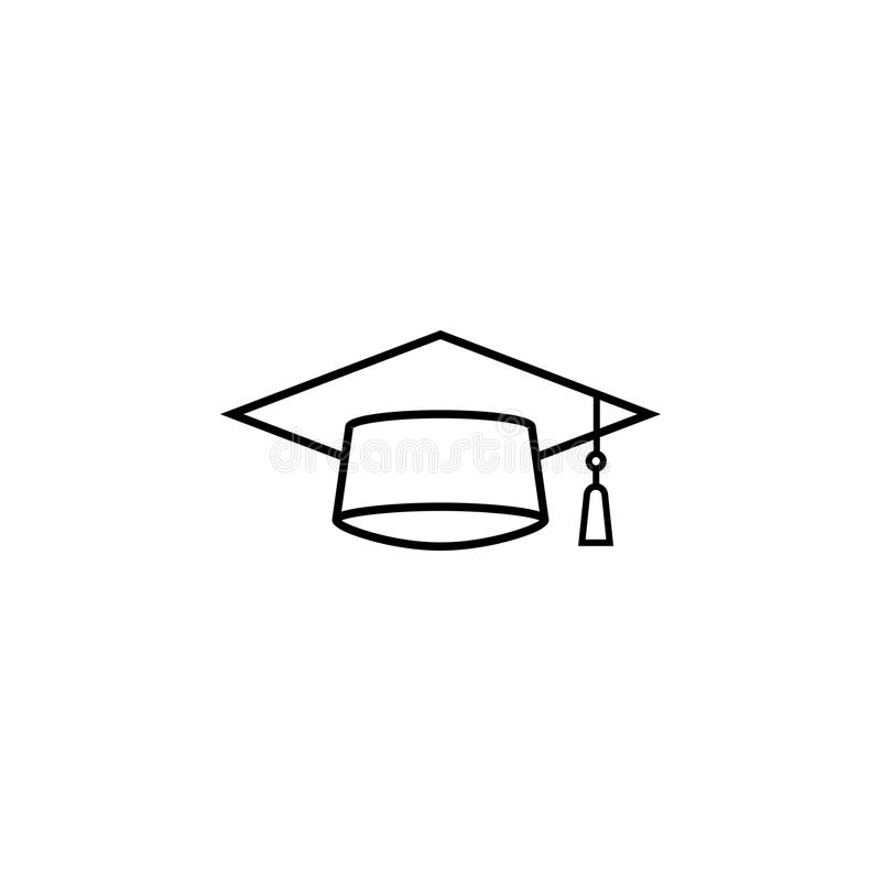 毕业盖帽线象,教育高中 向量例证