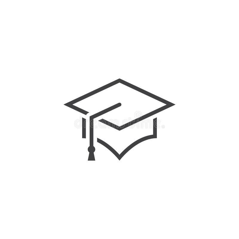 毕业盖帽线象,概述灰泥板传染媒介商标 向量例证