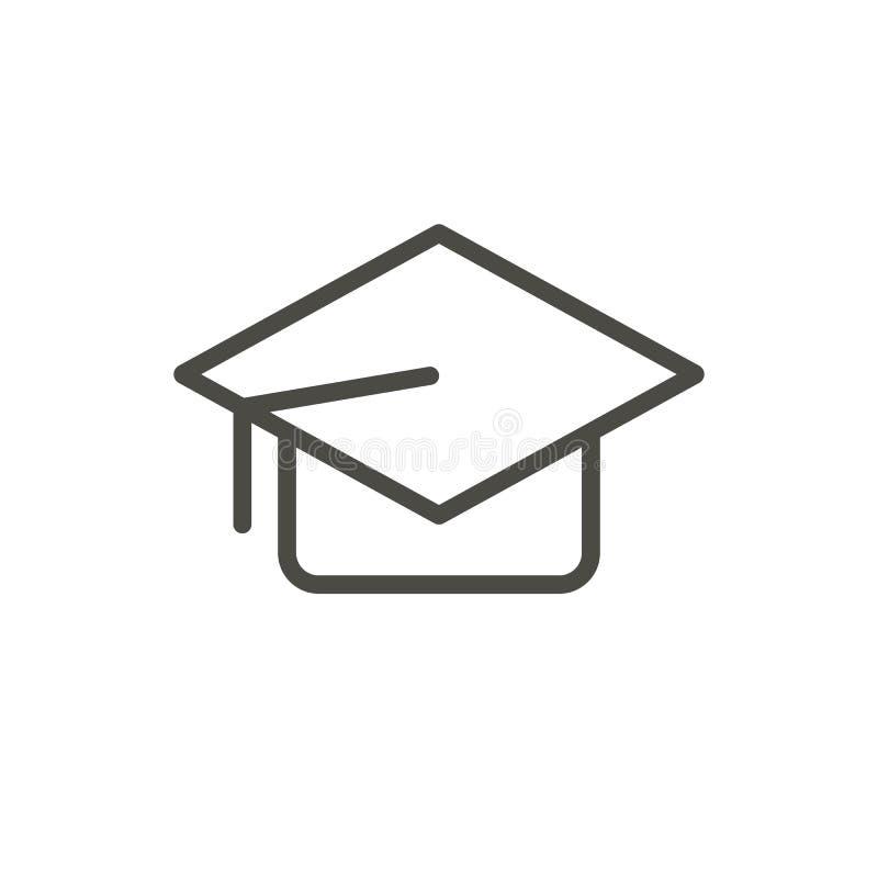 毕业盖帽象传染媒介 概述学生帽子 线学院标志 库存例证