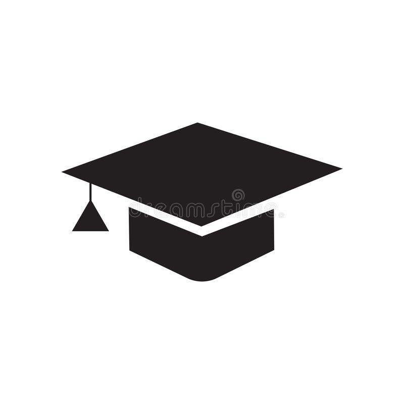 毕业盖帽象在白色bac和标志隔绝的传染媒介标志 向量例证