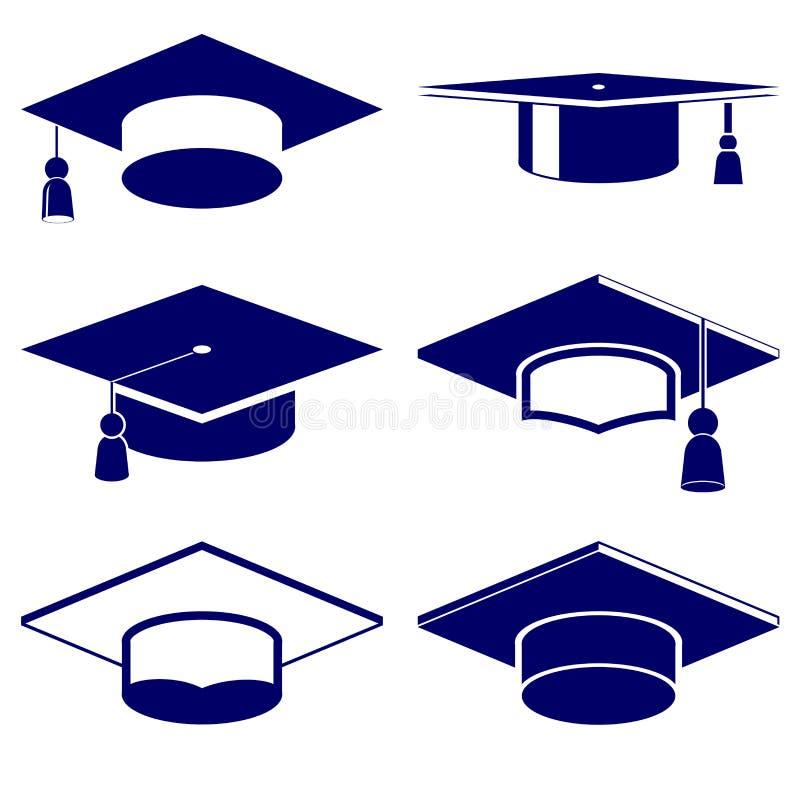 毕业盖帽象集合 向量例证