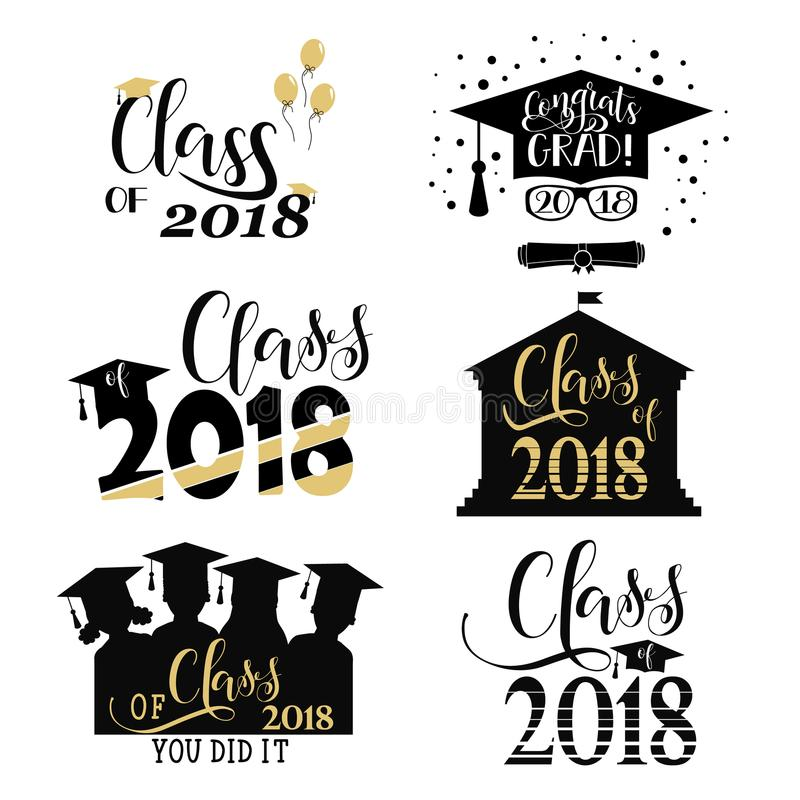 毕业祝愿覆盖物,在标签设计集合上写字 2018枚徽章减速火箭的毕业生类  结束教育标志 库存例证