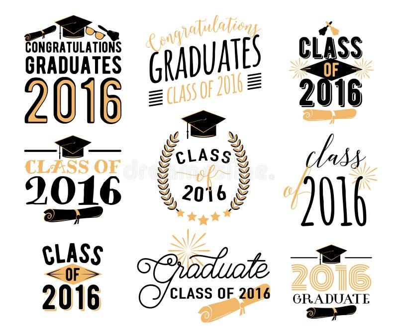 毕业祝愿覆盖物,在标签设计集合上写字 2016枚徽章减速火箭的毕业生类  手拉的象征 库存例证