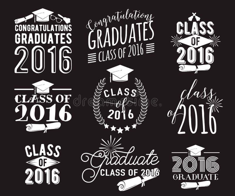 毕业祝愿覆盖物,在标签设计集合上写字 2016枚徽章黑白照片毕业生类  与旭日形首饰的象征 向量例证