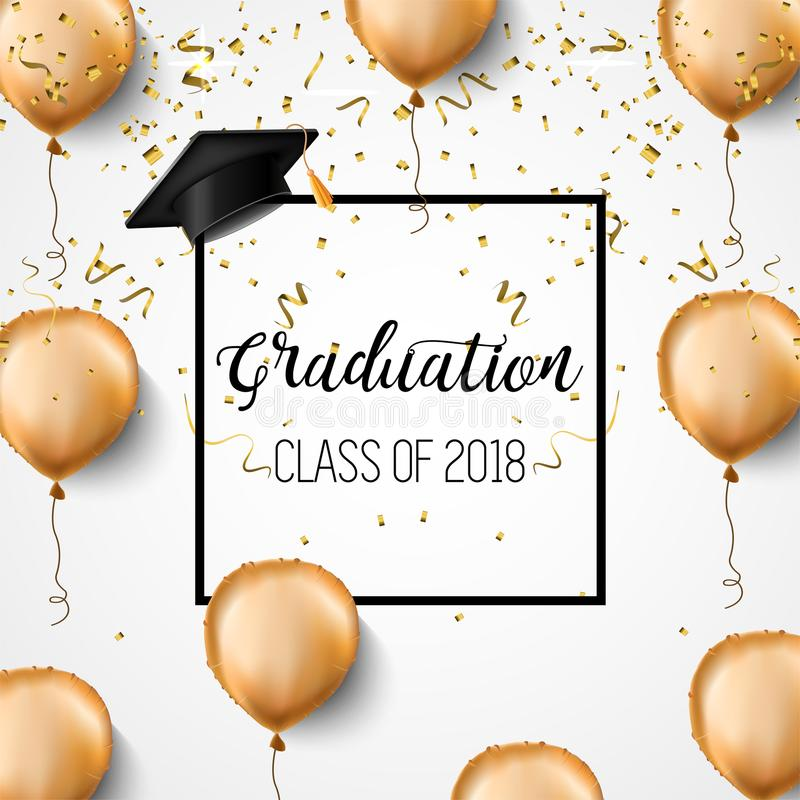 毕业类2018年 祝贺毕业生 学术帽子、五彩纸屑和气球 庆祝 向量例证