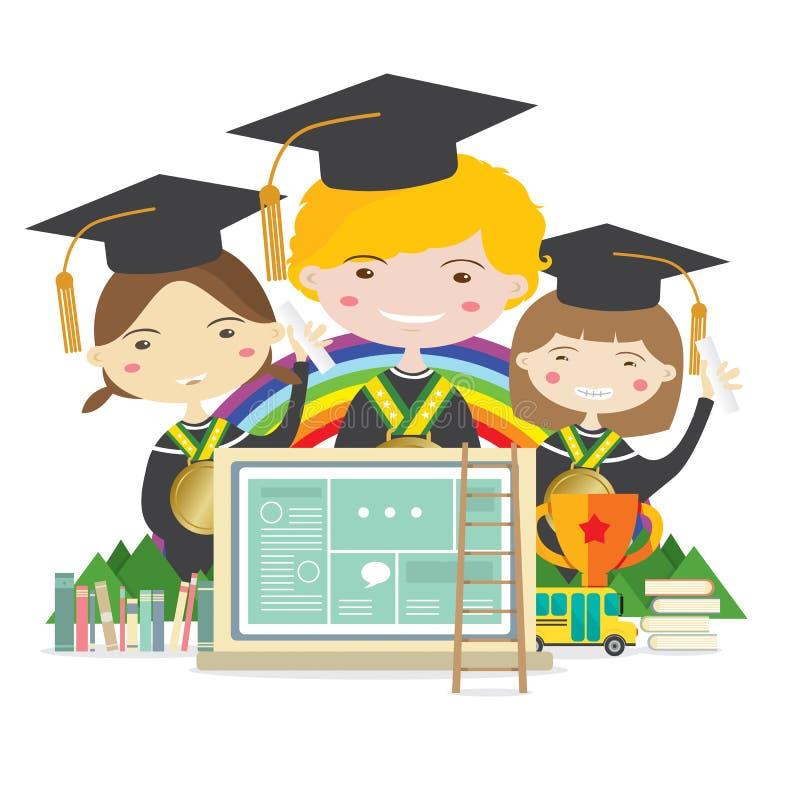 毕业衣服的愉快的学生与金黄奖牌代表教育概念 库存例证