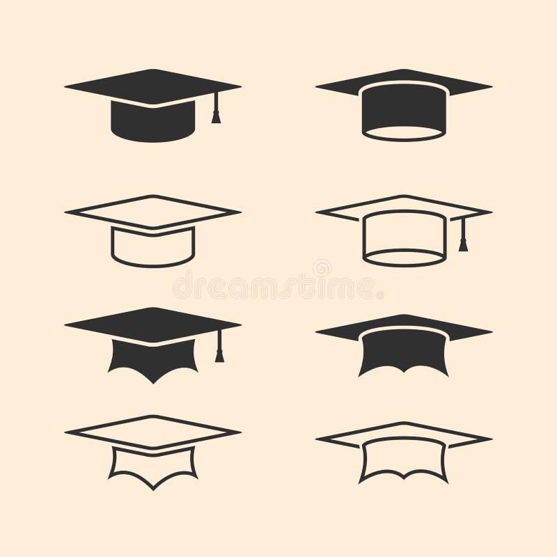 毕业被设置的盖帽商标 毕业帽子商标集合 学术盖帽 线被设置的学术象 向量例证