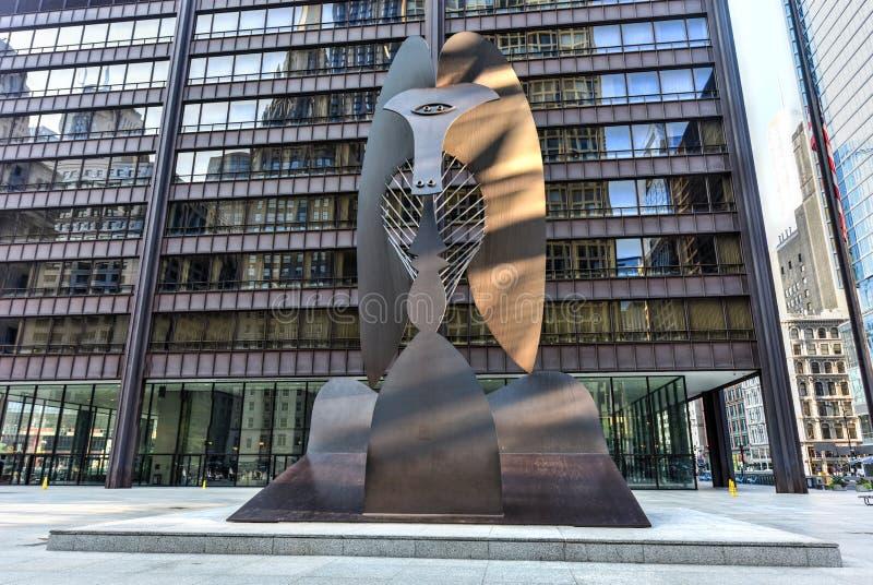 毕加索雕塑在芝加哥 库存照片