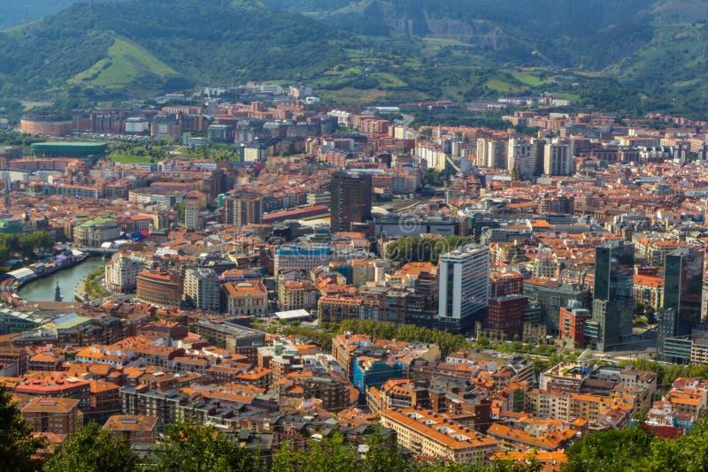 毕尔巴鄂市,西班牙鸟瞰图  库存图片