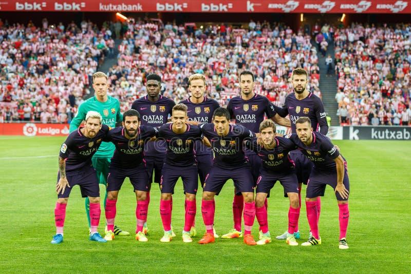 毕尔巴鄂,西班牙- 8月28 :新闻的巴塞罗那足球俱乐部姿势在毕尔巴鄂竞技队和巴塞罗那足球俱乐部之间的比赛,庆祝在A 免版税库存图片