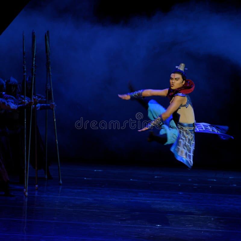 毗邻卫兵这四行动`被阻碍的出口结关` -史诗舞蹈戏曲`丝绸公主` 免版税图库摄影