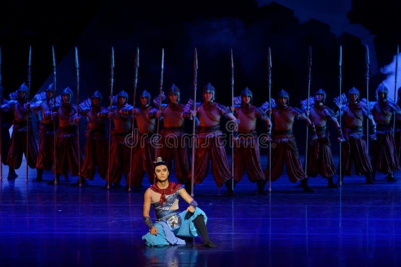 毗邻卫兵这四行动`被阻碍的出口结关` -史诗舞蹈戏曲`丝绸公主` 库存照片