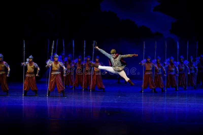 毗邻卫兵这四行动`被阻碍的出口结关` -史诗舞蹈戏曲`丝绸公主` 免版税库存图片