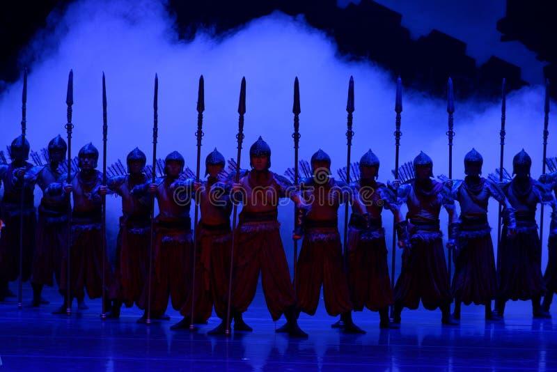 毗邻卫兵这四行动`被阻碍的出口结关` -史诗舞蹈戏曲`丝绸公主` 免版税库存照片