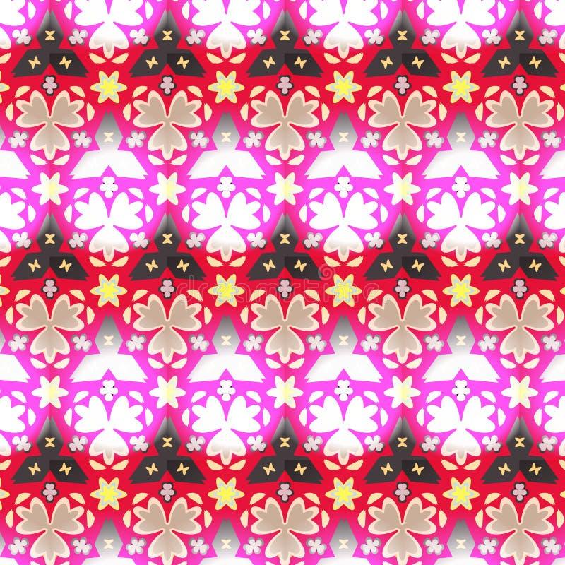 毗邻在桃红色,红色的无缝的几何花卉传染媒介样式,白色和黑色 库存例证