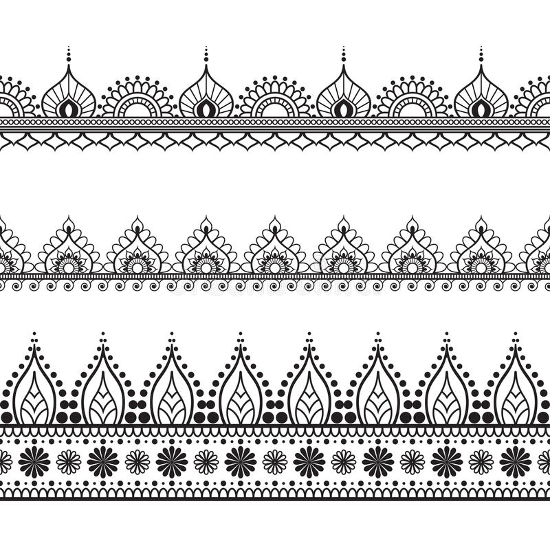 毗邻在印地安mehndi样式的元素卡片或纹身花刺的 在空白背景查出的向量例证 皇族释放例证