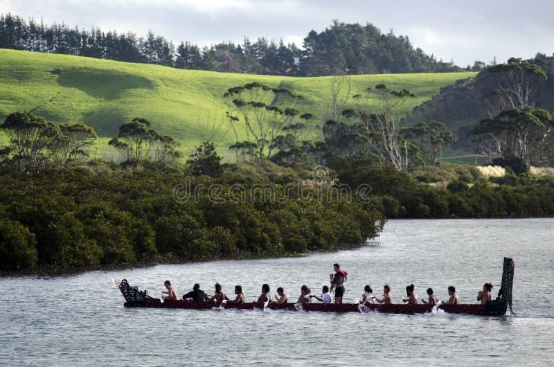 毛利人战争Waka独木舟 免版税库存图片