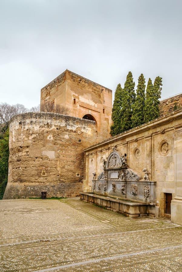 毛发的de卡洛斯五世在阿尔罕布拉宫,格拉纳达,西班牙 库存照片