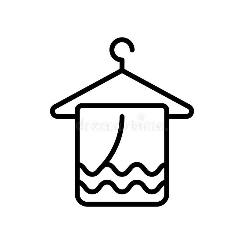 毛巾在白色背景、毛巾标志、线和概述元素隔绝的象传染媒介在线性样式 皇族释放例证