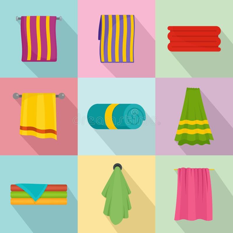 毛巾垂悬的温泉浴象设置了,平的样式 皇族释放例证