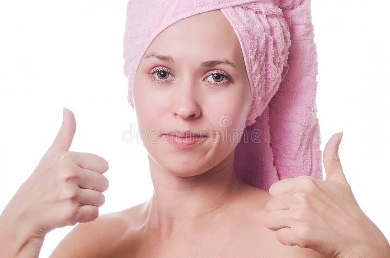 毛巾的妇女 库存照片