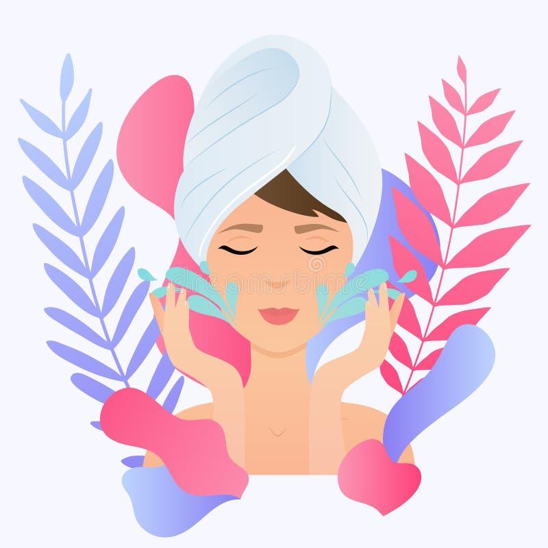 毛巾的少妇与干净的新皮肤接触拥有面孔 皇族释放例证