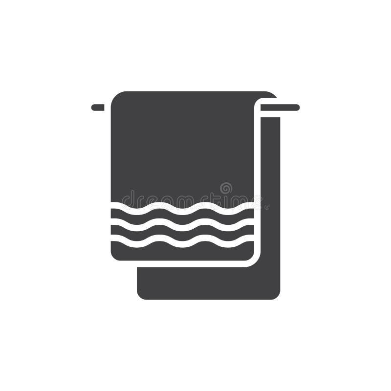 毛巾象传染媒介,被填装的平的标志,在白色隔绝的坚实图表 向量例证