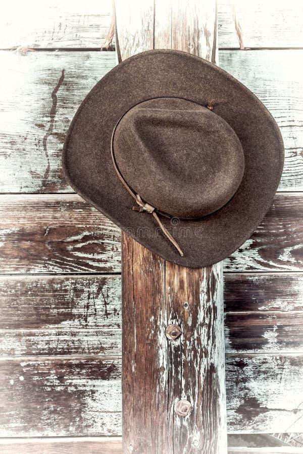 毛毡在畜栏篱芭的牛仔帽 库存照片