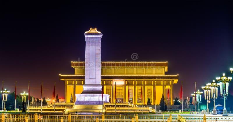 毛泽东人民英雄纪念碑和陵墓天安门广场的在北京 免版税库存图片