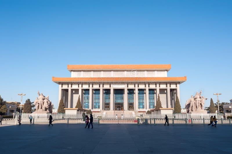 毛泽东在天安门广场,北京,中国陵墓  图库摄影
