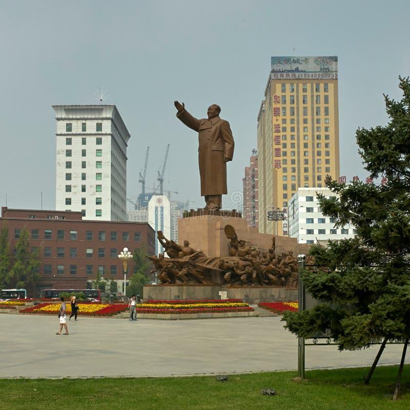 毛泽东雕象在沈阳,辽宁,中国 免版税库存照片