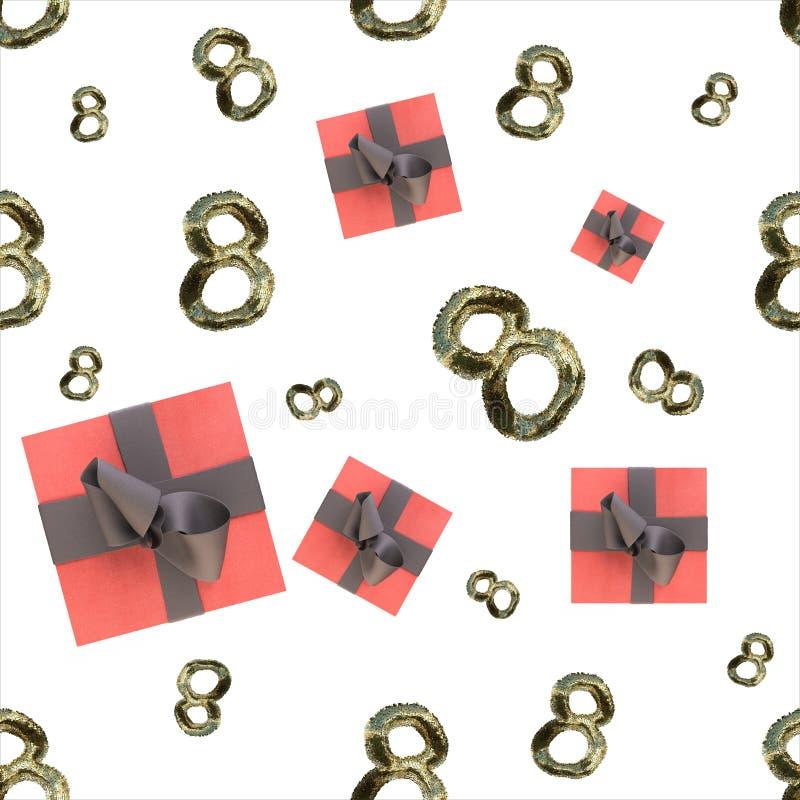 毛皮和飞行礼物盒做的金黄8个数字被隔绝在明亮的背景 愉快的妇女天无缝的设计样式 3d不适 向量例证