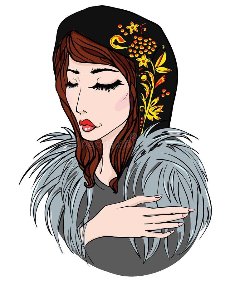 毛皮和围巾的俄国女孩 向量例证