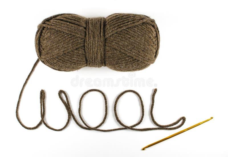 毛纱的汉克与钩针编织的 免版税图库摄影