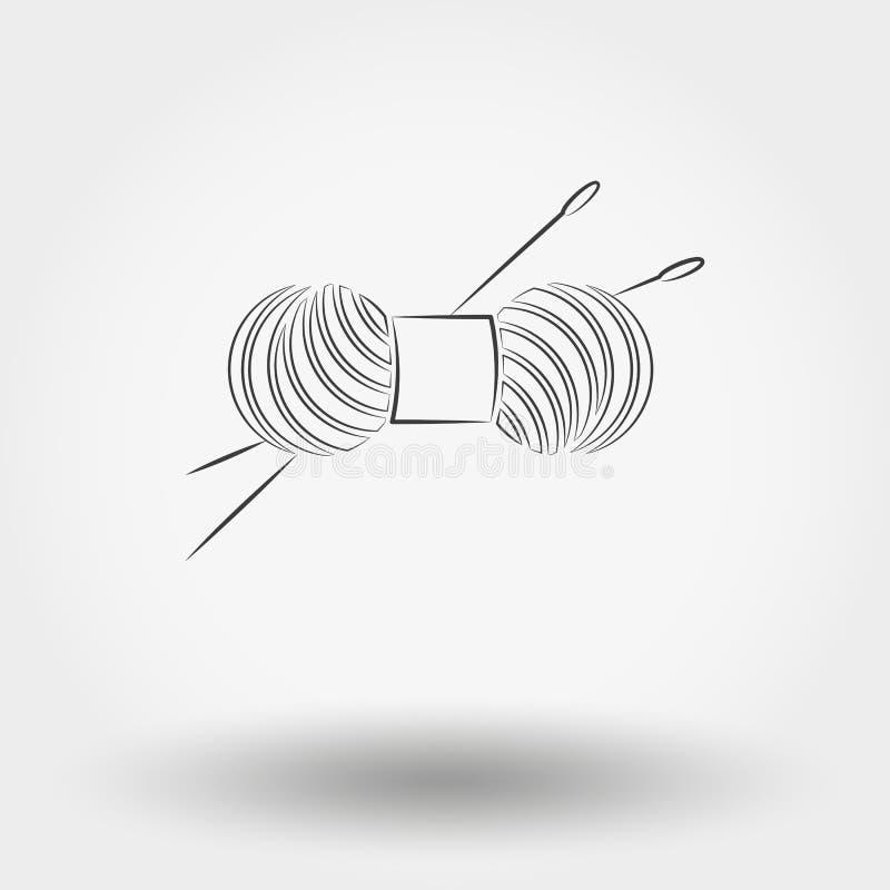 毛线丝球编织和针的 向量例证